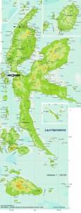 kaart halmahera Bij de pijlen: boven Duma bij het meer van Galela onder: Ternate, het bestuurscentrum